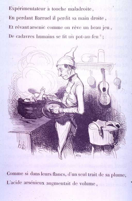 <p>A chef notices a human head and foot in his soup pot.  A guitar hangs in the background and a cleaver rests on a cutting block nearby.</p>
