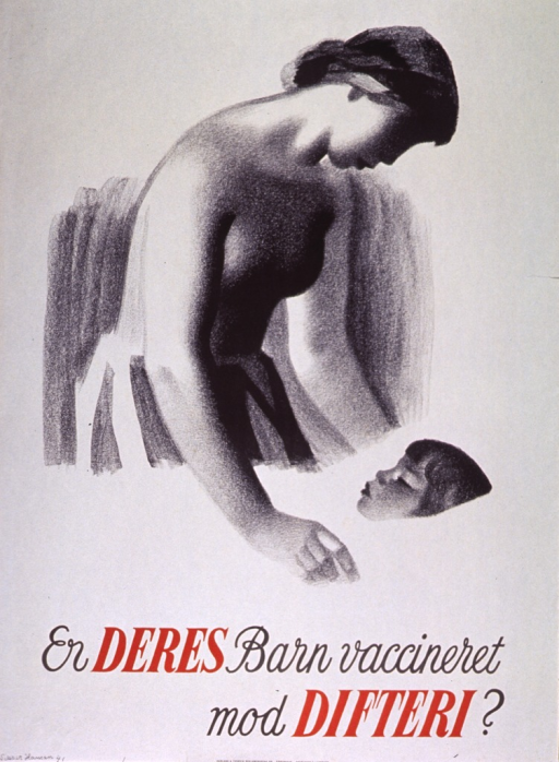 <p>Predominantly off white poster with black and red lettering.  Visual image is a slightly abstract illustration of a mother looking down on her sleeping child.  Title below illustration.  Publisher information at bottom of poster.</p>