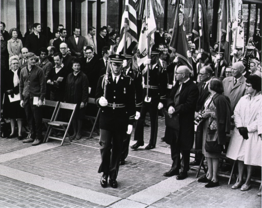 <p>Showing color guard as they march to the stage.</p>