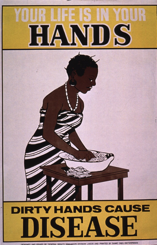 <p>Predominantly white and yellow poster with black and white lettering.  Title at top of poster.  Visual image is an illustration of a woman washing her hands in a basin.  Caption below illustration.  Publisher information at bottom of poster.</p>