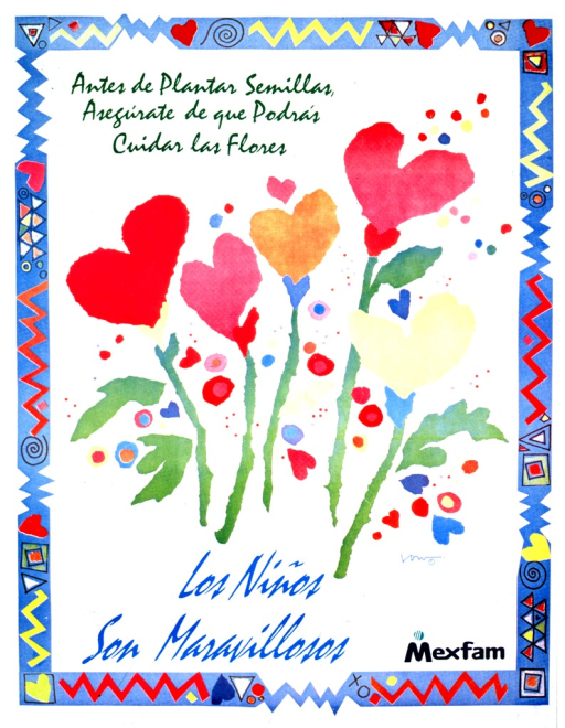 <p>White blackground with multicolored lettering. Image is a color drawing of five flowers with heart-shaped tops. A thick border (with a design inside) runs along the outside of the poster. A logo is in the bottom right-hand corner.</p>