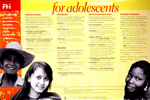 <p>Yellow and red poster with multicolor lettering.  Title at top of poster.  Poster dominated by text explaining various contraceptive methods and their in role preventing pregnancy and sexually transmitted diseases.  Also discusses side effects and accessibility.  Visual images are reproductions of b&amp;w photos of teens from different ethnic groups.  Publisher and sponsor information at bottom of poster.</p>