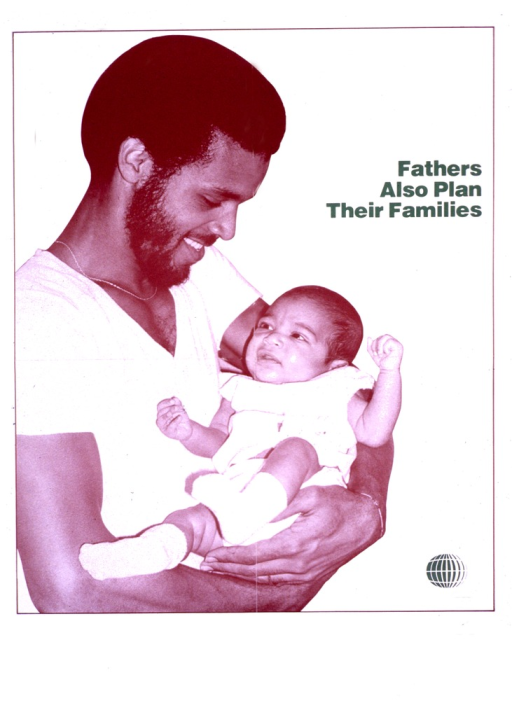 <p>Predominantly white poster with green lettering.  Title on right side of poster.  Visual image is a b&amp;w photo reproduction featuring a man holding an infant.</p>