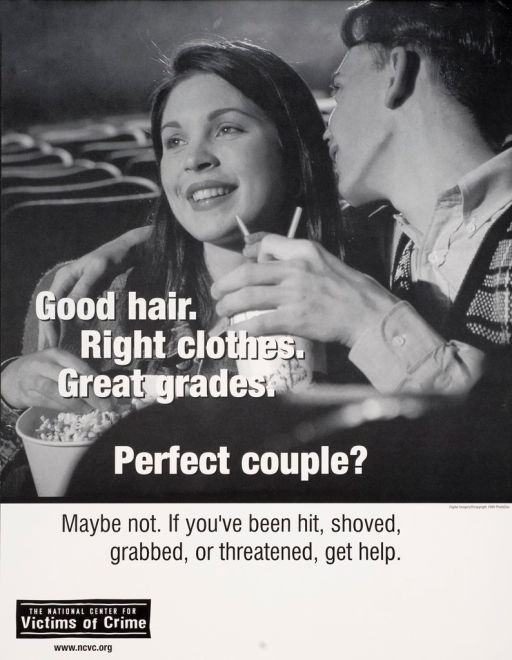 <p>Black and white poster with white and black lettering. Visual image is a young couple in a movie theater with popcorn and a drink. Title superimposed near bottom of image. Caption below title. Publisher information at bottom of poster.</p>