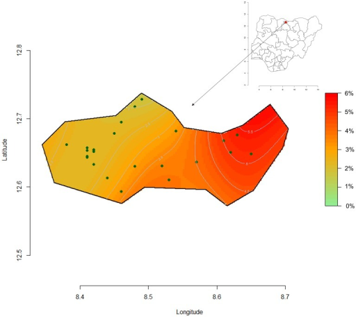 Spatial clusters representation of SAM week 35 at the peak period, Kazaure LGA, Jigawa State, Nigeria.