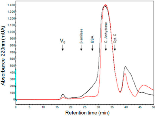 Characterization of crosslinked product for molecular exclusion. 2 mg of IN 1–105 were crosslinked in 200 μL and loaded on a Superdex S-200 column equilibrated in 10 mM tris pH 7.5, 0.5 M NaCl, 1 mM DTT and 5% glycerol at a flow rate of 0.5 mL/min. 0.5 mL of each fraction were collected. Protein elution was monitored by the absorbance at 220 nm. The chromatographic profile of the crosslinked protein is shown in black, and unmodified control protein is shown in red. The elution position of molecular weight markers is indicated by arrows. The markers used were: β-amylase (200 kDa), serum albumin (66 kDa), carbonic anhydrase (29 kDa) and cytocrome C (12.4 kDa). The (V0) indicated the void volume (dextran blue).