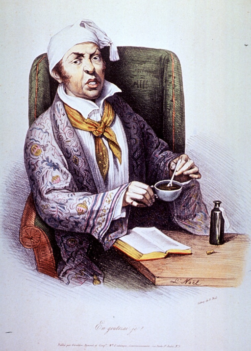 <p>A man seated at a table is preparing a mixture of medicine in a cup; there is an open book and a bottle on the table.</p>