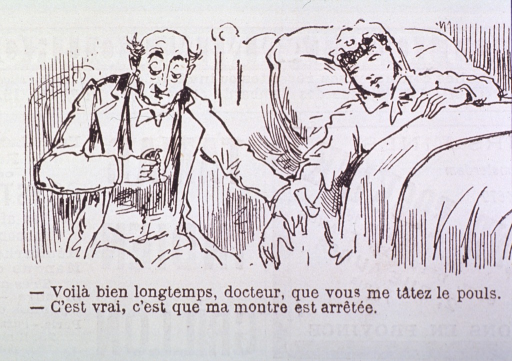 <p>Caricature:  A physician, sitting at bedside, is taking the pulse of a patient.</p>