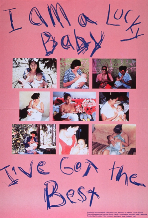 <p>Pink poster with blue lettering.  Initial title words at top of poster.  Lettering made to look like a child writing with a crayon.  Visual image is an array of nine color photo reproductions.  The photos show women breastfeeding their babies in a variety of settings.  Remaining title words below photos.  Publisher and sponsor information in lower right corner.</p>