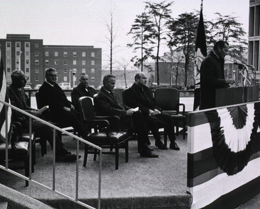 <p>Showing Robert H. Finch delivering dedication address.  Others shown are Dr. John C. Eberhart, Dr. Edward F. MacNichol, Jr., Dr. Robert Marston, Dr. Carl Baker, and Chaplain Leroy G. Kerney.</p>