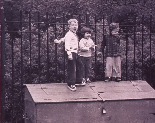<p>Three children are standing on a wooden chest against a wrought iron picket fence.</p>
