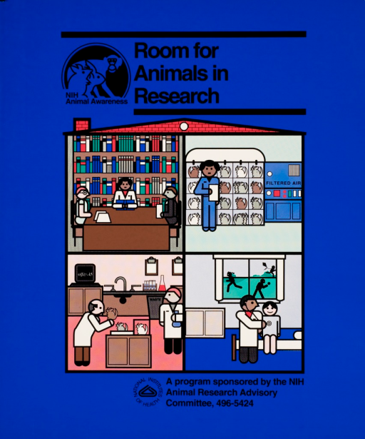<p>Four rooms in a building: a library, a housing facility for rodents, a laboratory, and an physician's office with a window through which is seen children at play flying a kite, running, and throwing a ball.</p>