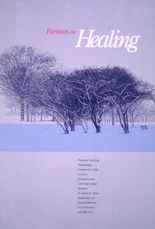 <p>Poster in shades of blue and gray, the top half showing a scene with a cluster of trees.  The speaker's affiliation with the Department of Spiritual Ministry is given as well as a phone number for more information.</p>