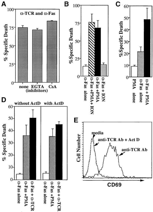 A PKC dependent, calcium-independent pathway mediates  synergy between TCR and Fas signaling. (A) EGTA or CsA does not  block the synergy between TCR and Fas. KIT50-Fas cells were stimulated with plate-bound H57-597 (10 μg/ml) plus Jo2 (10 μg/ml) in the  presence of media alone, EGTA or CsA. Cell death was measured 24 h  later by PI uptake. The representative results of three independent experiments are shown. The similar treatment of EGTA or CsA completely  blocked cell death induced by anti-TCR Ab alone (data not shown). The  low level of apoptosis induced by anti-Fas Ab alone (2–10% specific cell  death) was not affected by EGTA or CsA (data not shown). Spontaneous  cell death in the media alone ± EGTA or CSA was <5%. (B) PMA can  substitute for TCR signals to enhance Fas-mediated apoptosis. KIT50-Fas  cells were cultured in 96-well plates coated with anti-Fas Ab (Jo2, 10 μg/ ml) in the presence of various stimuli. Cell death was assayed 24 h later by  PI uptake. The representative results of at least three independent experiments are shown. Cells were stimulated with Jo2 in the presence of media  alone (white bar), PMA plus ionomycin (hatched bar), PMA alone (black  bar), or ionomycin alone (gray bar). In the absence of Jo2, PMA or ionomycin alone did not induce cell death and PMA plus ionomycin induced  a low level (<15%) of apoptosis in these cells (data not shown). (C) PMA  alone can enhance Fas-mediated cell death of another Fas-transfected T  cell hybridoma, KCIT1-8.5/Fas. KCIT1-8.5/Fas cells (23) were stimulated with PMA alone (white bar), plate-bound 10 μg/ml anti-Fas Ab  alone (hatched bar), or PMA plus plate-bound anti-Fas Ab (black bar). Cell  death was assayed 24 h later by PI uptake. The representative results of  three independent experiments are shown. (D) Actinomycin D does not  inhibit the synergy mediated by PMA or anti-TCR Ab. KIT50/Fas cells  were stimulated with various reagents in the presence or absence of actinomycin D. Cell death was determined 24 h later by PI uptake. The representative results of three independent experiments are shown. (White  bars) plate-bound anti-Fas Ab alone, 10 μg/ml; (hatched bars) PMA plus  plate-bound anti-Fas Ab; (black bars) plate-bound anti-TCR Ab plus anti-Fas Ab at 10 μg/ml each. In the absence of anti-Fas Ab, PMA alone did  not induce significant cell death (<5%). Anti-TCR Ab without anti-Fas  Ab induced ∼10% specific cell death (data not shown). (E) Actinomycin  D inhibits CD69 induction by TCR stimulation. KIT50/Fas cells from D  were stained by FITC-labeled anti-CD69 antibody and analyzed by  FACS®.