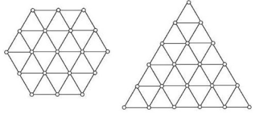 The hexagonal and the triangular shapes used for the designability studies. There are 20,843 different compact conformations unrelated by shape symmetries for this hexagon and 22,104 for this triangle.