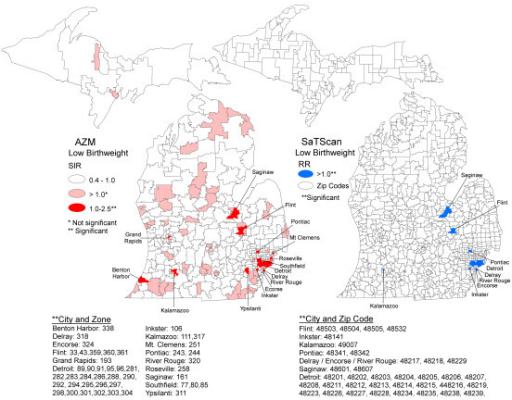 Maps of low birthweight standardized incidence ratios following AZM compared with SaTScan clusters, Michigan 2004 to 2006.