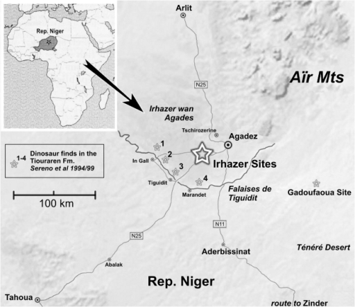 map of dinosaur localities in the vicinity of agadez r open i