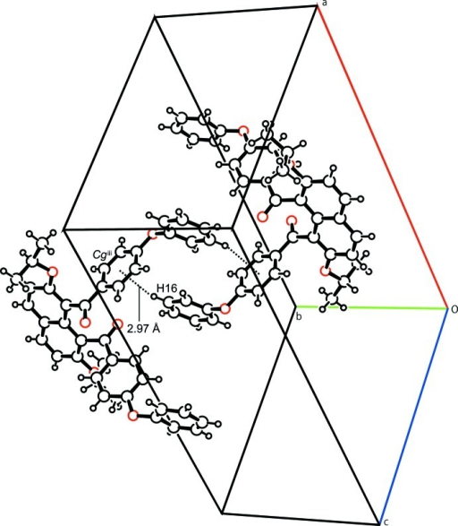 A partial packing diagram of compound (I), showing the intermolecular C—H···π interactions (dashed lines). Cg is the centroid of the C8—C13 ring. Symmetry code: (iii) 1 - x, -y, - z +2.