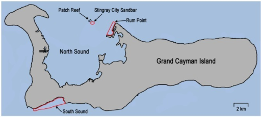 Map Of Grand Cayman Island Showing Study SitesIndicate Openi - Cayman islands cities map