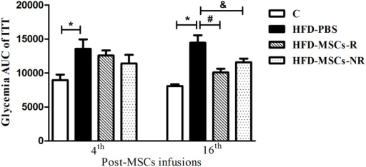 Insulin Tolerance Test (ITT) glycemia response decrease post-MSCs infusion.Only in the 16th week post-MSC infusions, the glycemia response to insulin injection was significantly lower in both HFD-MSCs-R and HFD-MSCs-NR compared to HFD-PBS group. Values are expressed as mean ± SEM (5–13 mice/group). * p < 0.05, control group (C) vs. HFD-PBS; # p < 0.05, HFD-MSCs-R vs. HFD-PBS; & p < 0.05, HFD-MSCs-NR vs. HFD-PBS.