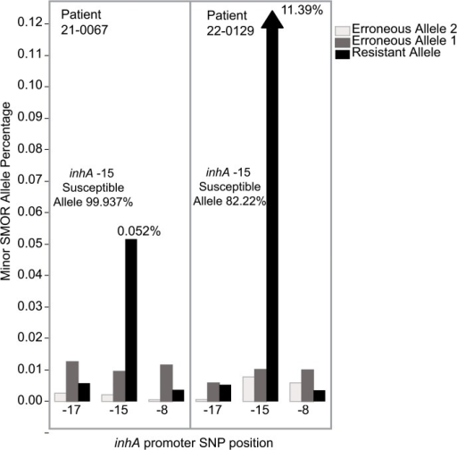 Minor subpopulation detection in two sputum samples from Moldova.Resistant and erroneous allele frequencies from three resistance SNP loci in the inhA promoter are shown. Patient 21–0067 with 0.05% resistant allele and patient 22–0129 with 11.39% resistant allele at inhA -15, compared to erroneous and resistant alleles below 0.01% at the other two SNP positions.