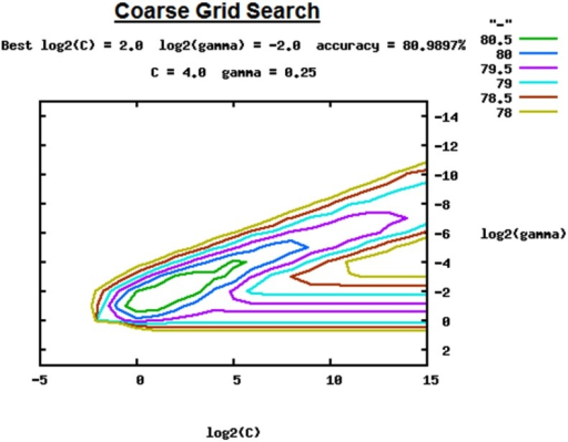 Coarse Grid Search for C and γ for parameter estimation.