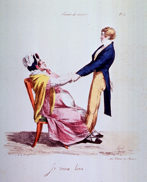 <p>Caricature:  A young man attempts to pull an overweigth woman up out of a chair (perhaps to dance).</p>