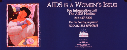 <p>Predominantly teal poster with white lettering.  All text on right side of poster.  Title at top, AIDS hotline number and publisher information below.  Visual image is a slightly abstract illustration of a seated woman reading a book.</p>