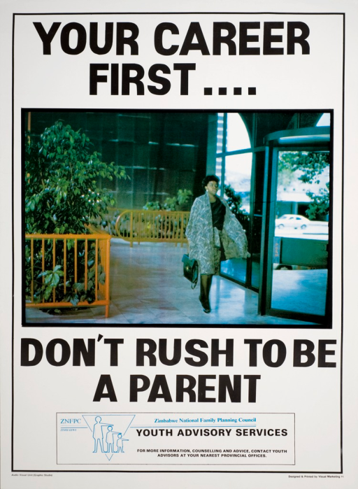 <p>Predominatly white poster with black lettering. Visual image is a woman in business attire walking through an office building lobby. Initial title phrase above image.  Remaining title phrase below image. Publisher information at bottom of poster.</p>