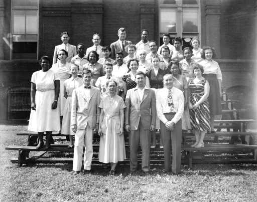 <p>Armed Forces Medical Library Current List Division. Front Row: Robert L. Hayne, Gertrude M. Butler, Seymour I. Taine, Michael J. Filippi. Second Row: Elvera M. Barnes, Katherine Malterud, Barbara Bytniewska, Madeleine Wiener, Thelma Charen, Bettie Graham, Bertha O'Connell. Third Row: Mary Wood, Lillian Washington, Rita Avery, Madeleine DeLevay, Dorris Harrison, Mary Cox, Bertha Cameron.  Fourth Row: Addison Shepard, Sarah Hood, Frances Kelsey, Cyrus Brown, Rosa Dickson, Barbara Resnick. Fifth Row: Morris Kirshbaum, Charles Stout, Stanley Jablonski, Harold Lawson, James Jung.</p>