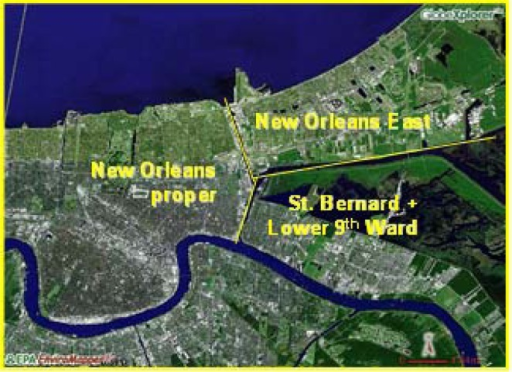 Map of New Orleans and neighboring areas showing the pa | Open-i