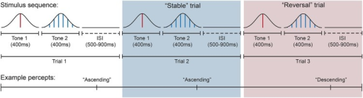 "Intermittent stimulus presentation sequence and corresponding example percepts across trials. In this example, the subject reports the perceived pitch direction of the tone pair as ascending in the first trial (white background) and also ascending in the second trial (blue background). Thus the second trial would be categorized as a ""stable"" trial because perceived pitch direction remained the same across successive trials. The tone pair in the third trial (red background) was perceived as descending and would be categorized as a reversal trial because perceived pitch direction differed from the immediately preceding trial. Each tone was presented for 400 ms in immediate succession, while trials were separated by a silent ISI of variable duration (500–900 ms). Subjects indicated their perceived pitch direction after each tone pair."