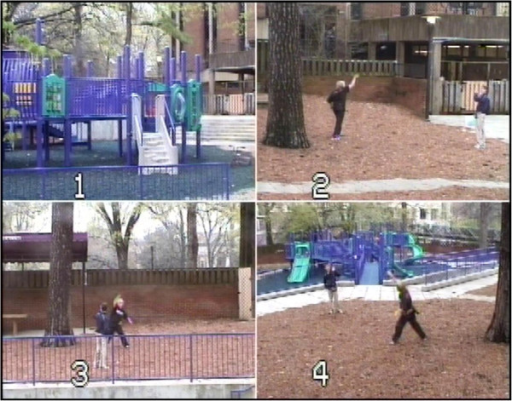 Image of the Playground Paradigm with four camera views (numbers 1 to 4). The study took place on a 130 by 120 ft fenced-in playground containing large equipment, swings, walkways and open space for interactive games. Research personnel remained in the building while monitoring the protocol from within the behavioral lab, allowing the participants to engage in more natural play behavior. Interactions were recorded using video and audio equipment.
