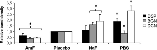 Quantification of NCP release from Western blot analysis. Quantification of the different bands by ImageJ after normalization with placebo bands shows a significant weaker protein release in samples pre-treated with AmF (all proteins tested) and PBS (BGN), and a significant stronger release in NaF (BGN and DCN) and PBS (DSP and DCN) pre-treated groups. Black bars: DSP; gray bars: BGN; white bars: DCN. *p < 0.05 vs. placebo value.