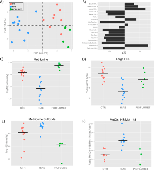 Metabolic changes after 18 months of PioFluMet polytherapy.(A) PC1/PC2 scatter scores plot and (B) PC1 loading bar plot of PCA showing all the metabolites measured in HIAE girls after the treatment. (C) Relative intensity of free methionine in serum as measured by LC-QqQ MS. (D) Percentage of large HDL particles in serum as measured by NMR. (E) Relative intensity of free methionine sulfoxide in serum as measured by LC-QqQ MS. (F) Ratio of MetOx-148/Met-148 in apo-A1 calculated from the intensity of the pepide K.LSPLGEEMR.D as measured by MALDI-TOF MS.