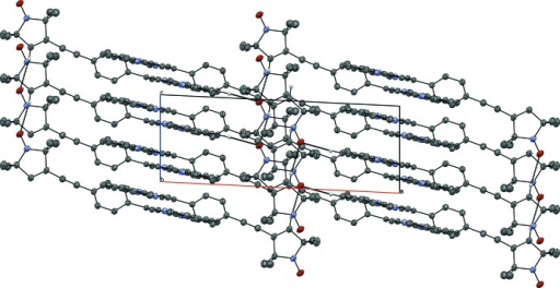 Crystal packing of the title compound viewed along the b axis. Weak C—H⋯O hydrogen bonds are shown as dashed lines