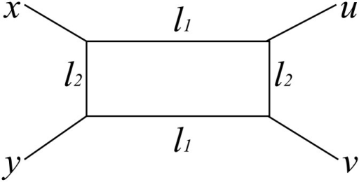 A diagram in which the distances between four nodes are decomposed.