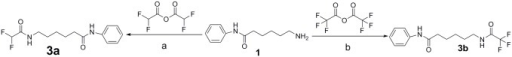 Synthesis of DFAHA and TFAHA.Reaction conditions are as follows: a) RT overnight; b) 2mL DCM, stirred overnight.