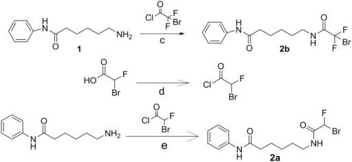 Synthesis of DFAHA and TFAHA precursors.Reaction conditions are as follows: c) pyridine, acetyl chloride added drop-wise at 0°C, stirred overnight at RT d) 0.9 eq. SOCl2, 12 hr. stirred under argon at 40°C, catalytic DMF; e) DCM, triethylamine added drop-wise at 0°C, stirred 24 hr. under argon at RT.