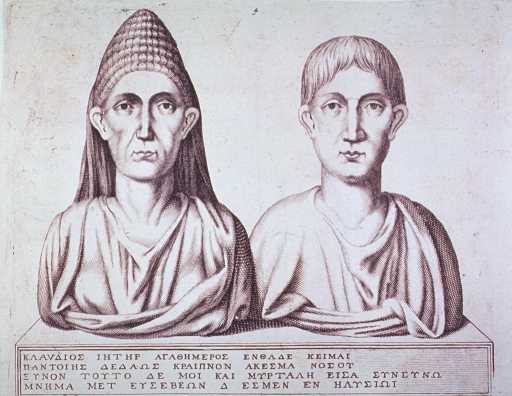<p>Busts and epitaph of the physician, Claudius Agathmeros, and his wife Myrtale, from the second half of the first century.</p>