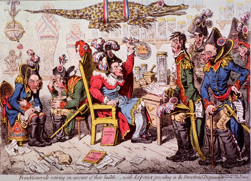 <p>A quack physician is sitting in a chair and holding up a retort; at right are several men in military uniforms; seated left are two men, also in uniform, one vomits into a pot, the other is sitting on a commode; an alligator hangs from the ceiling.</p>