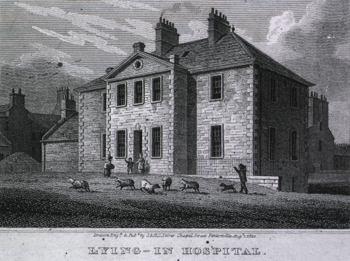 <p>Exterior view of front facʹade of building; three people stand at the entrance; a child with a small dog and some sheep is in the foreground.</p>