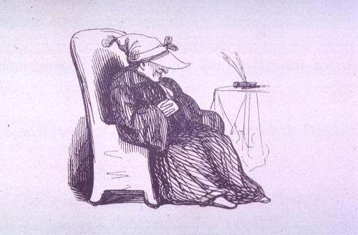<p>Vignette of an old woman seated in a chair sleeping.</p>