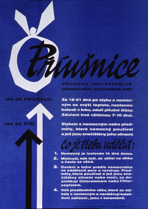 <p>Bright blue poster with black and white lettering.  Title near top of poster.  Title addresses the idea of mumps as an infectious disease. Title is superimposed on a white circle topped with a bow, suggestive of a bandage or wrapping sometimes used around the head in cases of mumps.  Significant amount of text on poster appears to deal with the symptoms of mumps and how the disease is spread.  Publisher information at bottom of poster.</p>