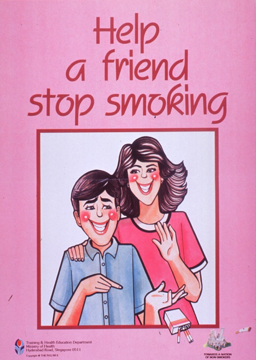 <p>Predominantly pink poster with burgundy lettering.  Title at top of poster.  Visual image is an illustration of a woman standing behind a man.  The man is tossing a pack of cigarettes away.  Note and logo in lower right corner.  Publisher information in lower left corner.</p>