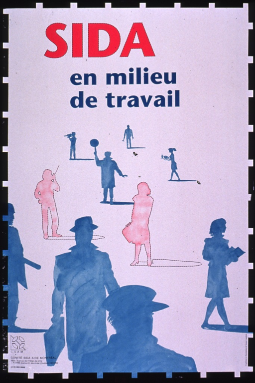 <p>Predominantly white poster with multicolor lettering.  Title at top of poster.  Visual images are silhouettes of people engaged in various occupations, such as a videographer, a crossing guard, and a waitress.  Most of the silhouettes are aqua, but two stand apart in pink.  Publisher information in lower left corner.</p>