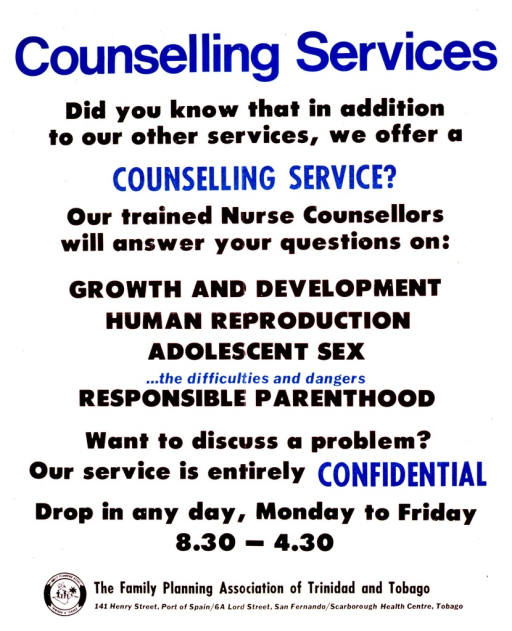 <p>White background with blue and black lettering. Most of the poster is several lines of text that describe counseling services provided by nurse counselors. Below the text is the name of the association and addresses of the different service locations, with a logo to the left.</p>