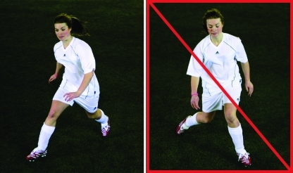 Fig 2 Example of running exercise illustrating key objectives of all running, jumping, cutting, and landing exercises: core stability and correct lower extremity alignment. Left: correct technique; right: incorrect technique with pelvic tilt and knee valgus alignment to right