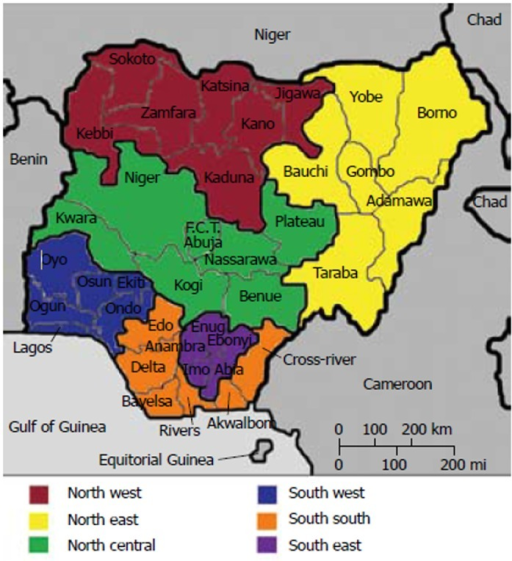 Map of Nigeria showing the 6 geo-political zones, 36 st | Open-i