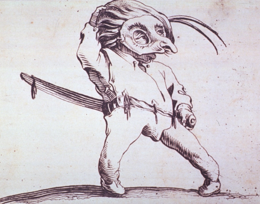 <p>A grotesque figure of a man wearing a mask and a sword.</p>